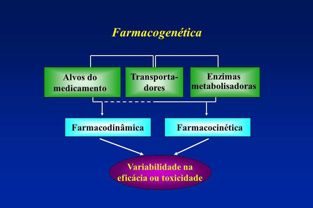 Enzimas metabolisadoras Variabilidade na eficácia ou toxicidade
