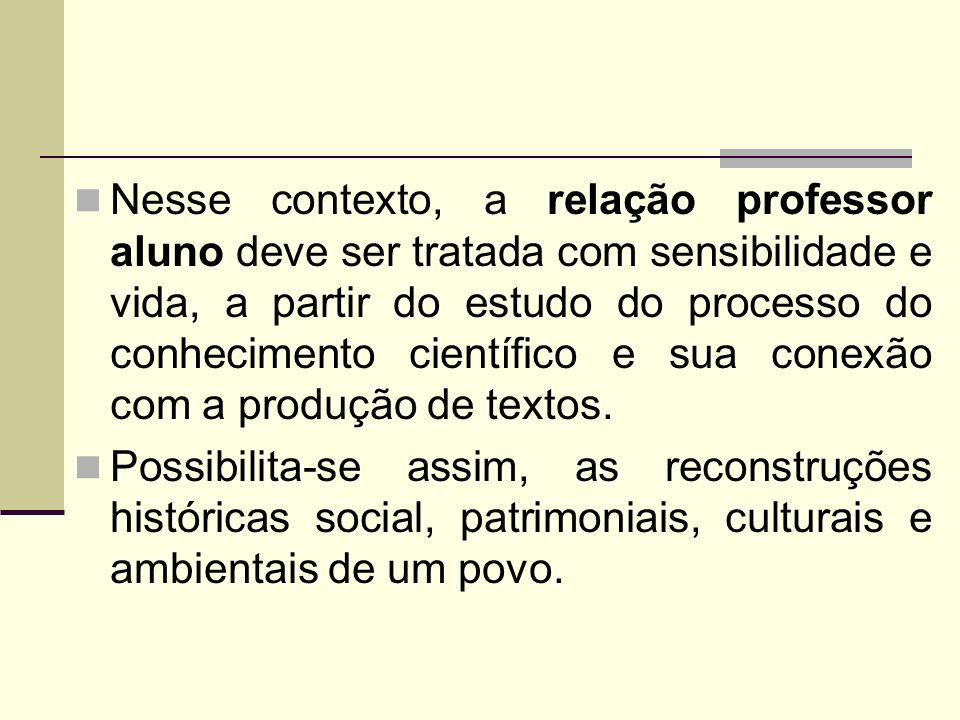 Nesse contexto, a relação professor aluno deve ser tratada com sensibilidade e vida, a partir do estudo do processo do conhecimento científico e sua conexão com a produção de textos.