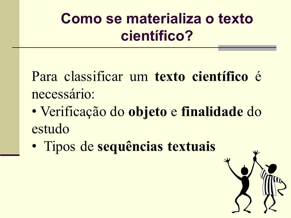 Como se materializa o texto científico