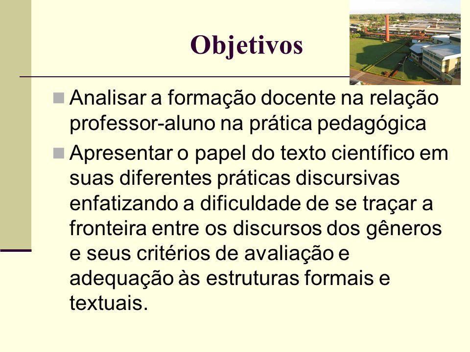 Objetivos Analisar a formação docente na relação professor-aluno na prática pedagógica.