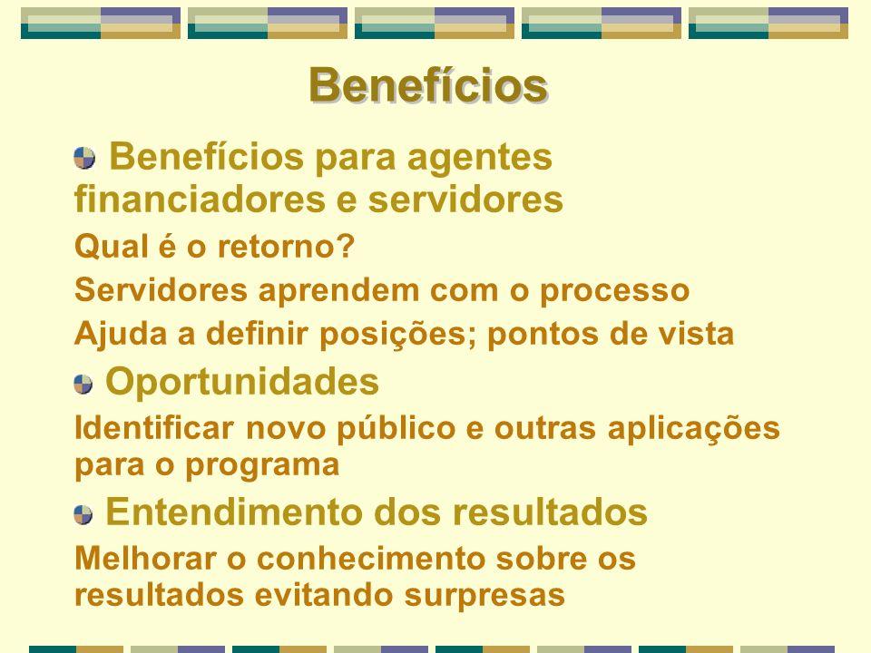 Benefícios Benefícios para agentes financiadores e servidores