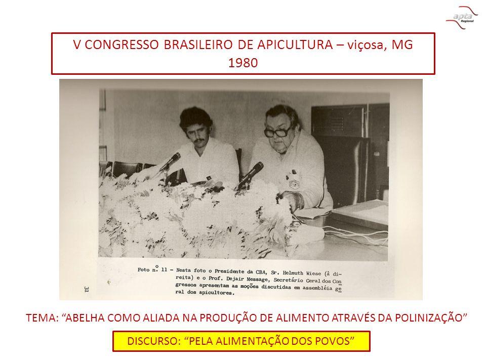 V CONGRESSO BRASILEIRO DE APICULTURA – viçosa, MG 1980