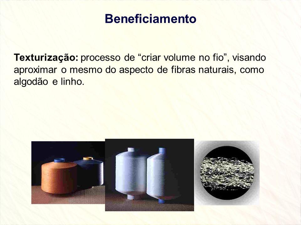 Beneficiamento Texturização: processo de criar volume no fio , visando aproximar o mesmo do aspecto de fibras naturais, como algodão e linho.