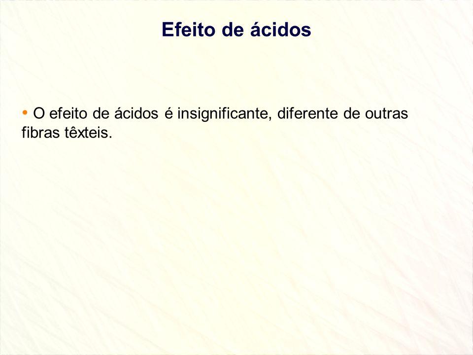 Efeito de ácidos O efeito de ácidos é insignificante, diferente de outras fibras têxteis.
