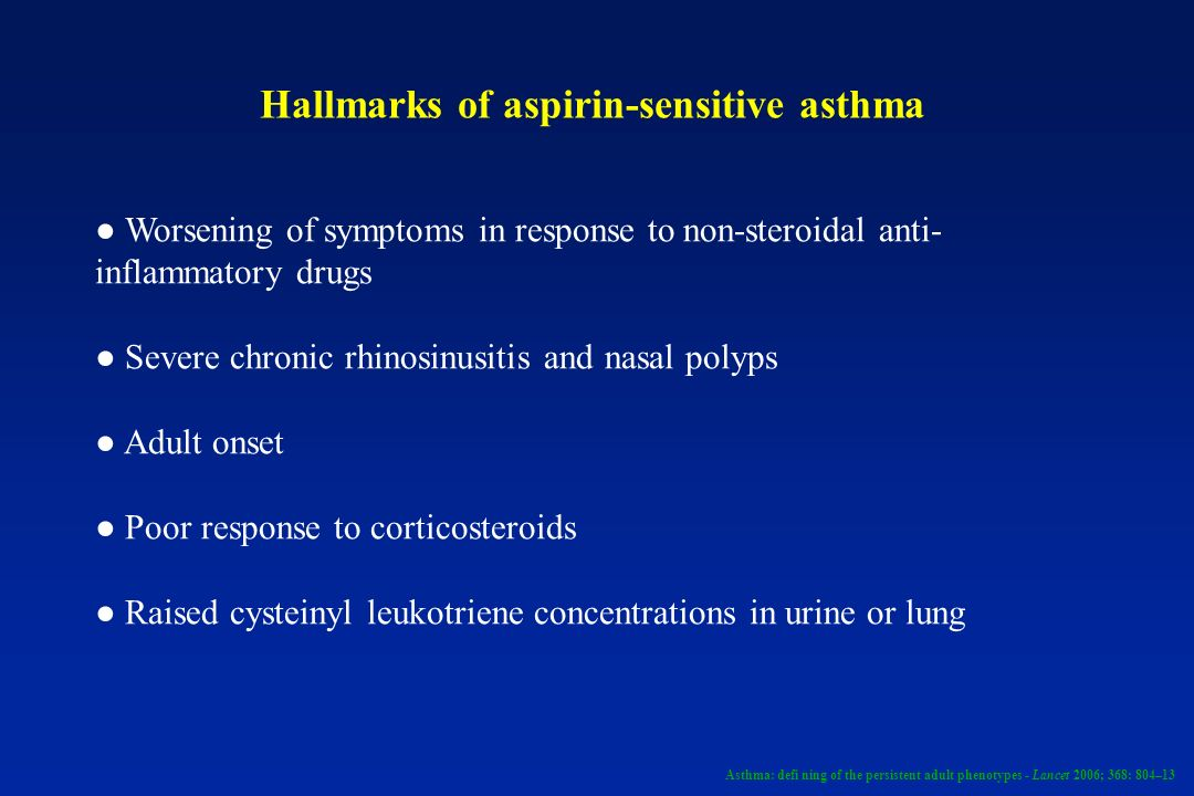 Hallmarks of aspirin-sensitive asthma