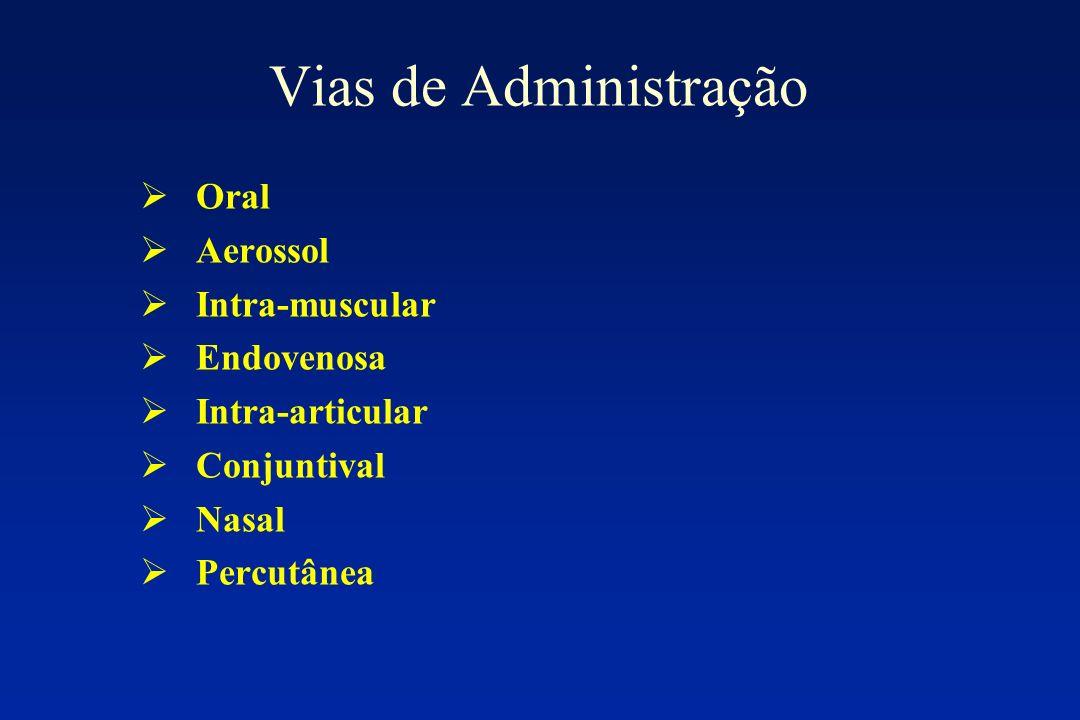 Vias de Administração Oral Aerossol Intra-muscular Endovenosa