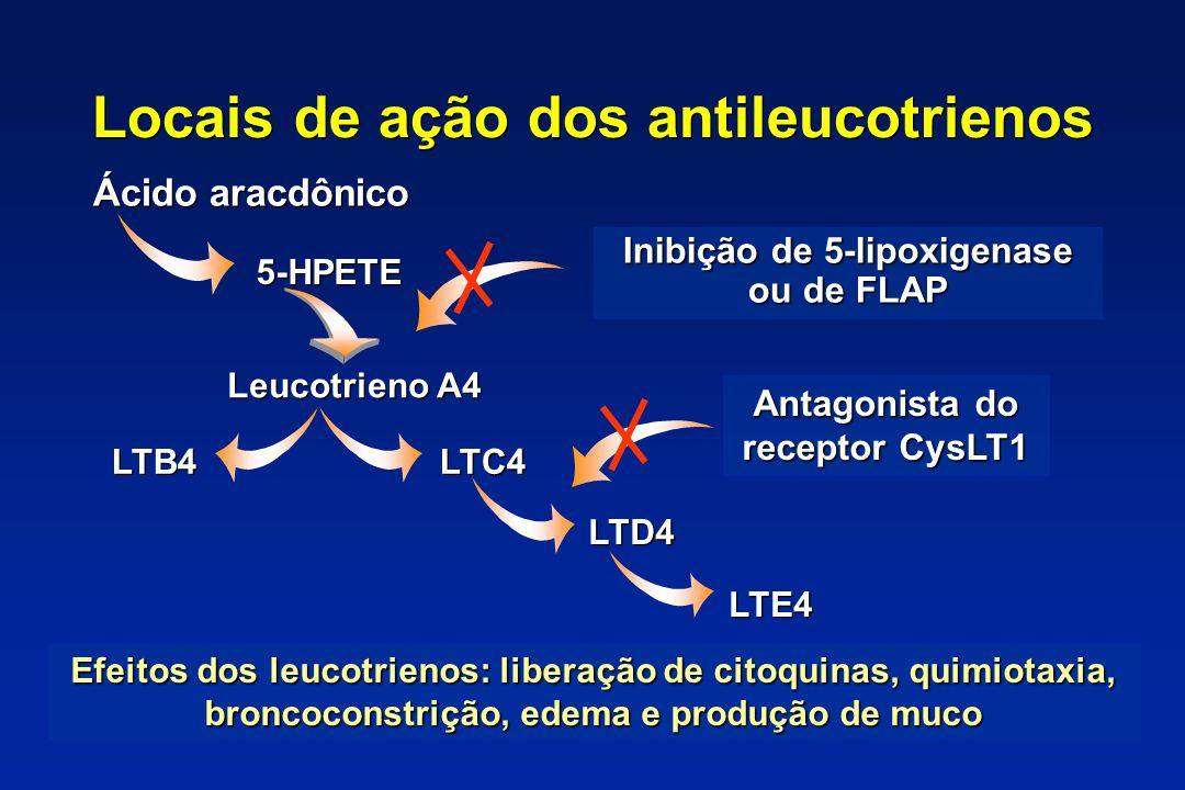 Locais de ação dos antileucotrienos