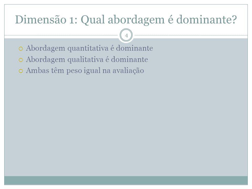 Dimensão 1: Qual abordagem é dominante