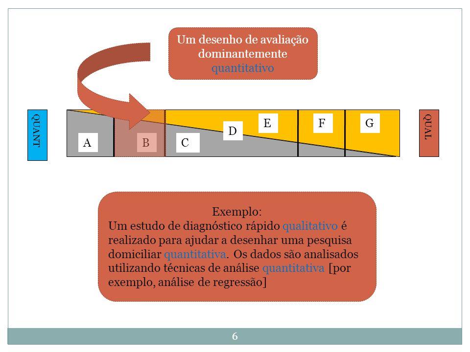 Um desenho de avaliação dominantemente quantitativo