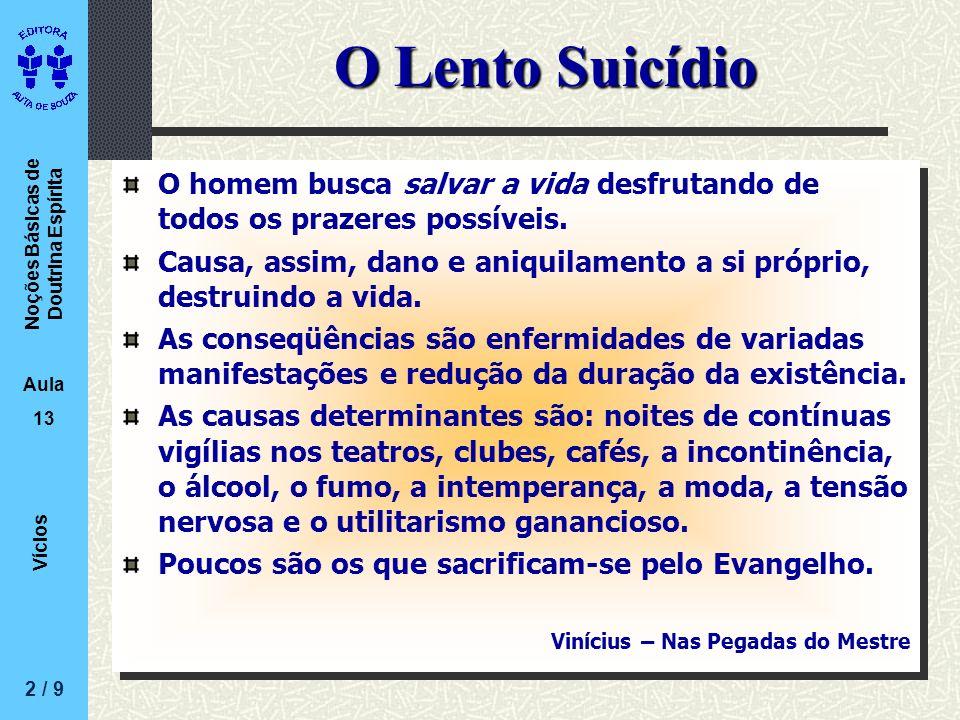 O Lento Suicídio O homem busca salvar a vida desfrutando de todos os prazeres possíveis.