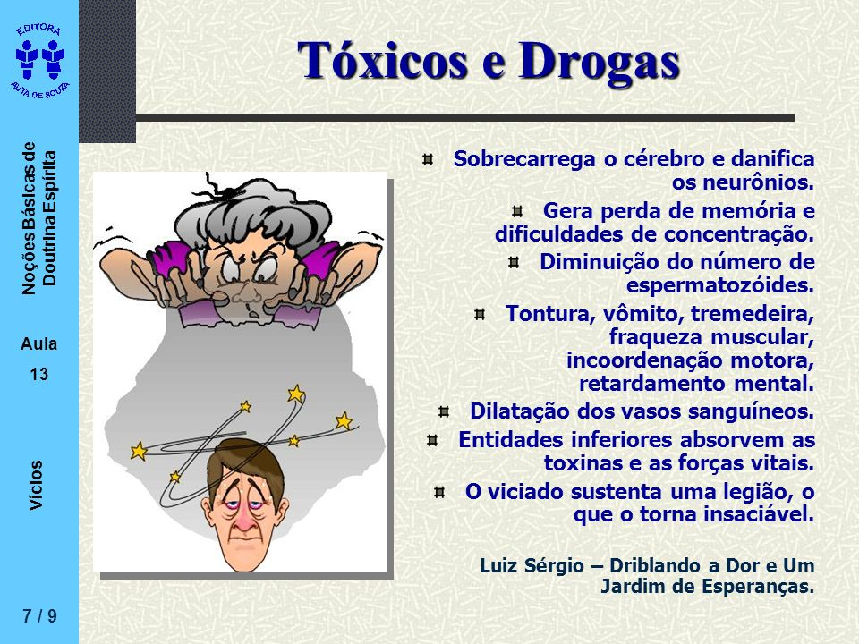 Tóxicos e Drogas Sobrecarrega o cérebro e danifica os neurônios.