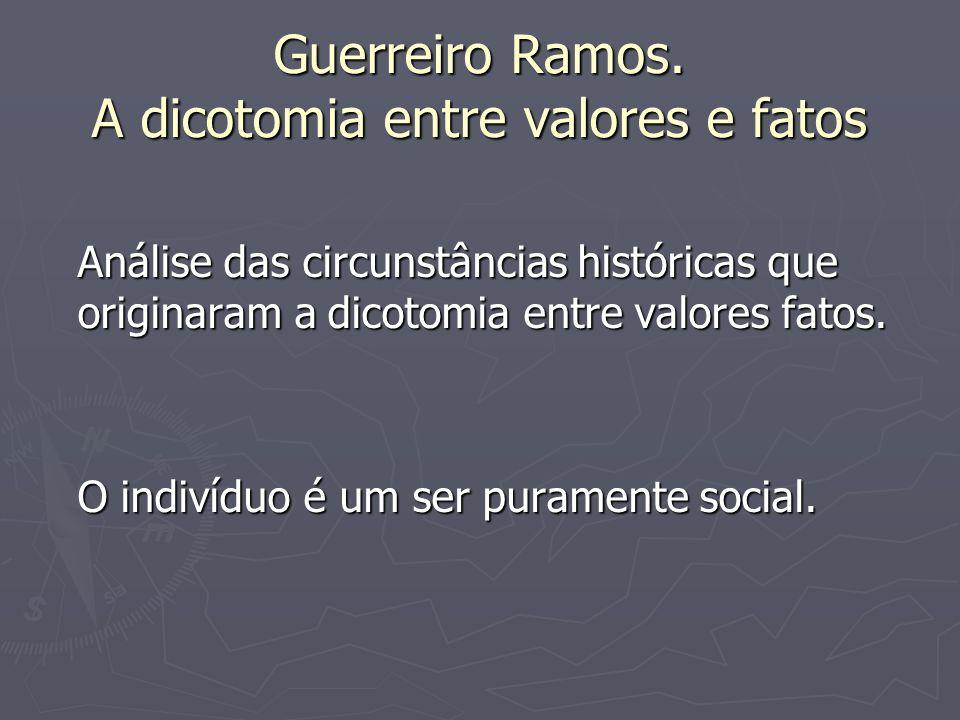 Guerreiro Ramos. A dicotomia entre valores e fatos