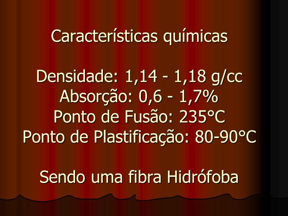 Características químicas Densidade: 1,14 - 1,18 g/cc Absorção: 0,6 - 1,7% Ponto de Fusão: 235°C Ponto de Plastificação: 80-90°C Sendo uma fibra Hidrófoba