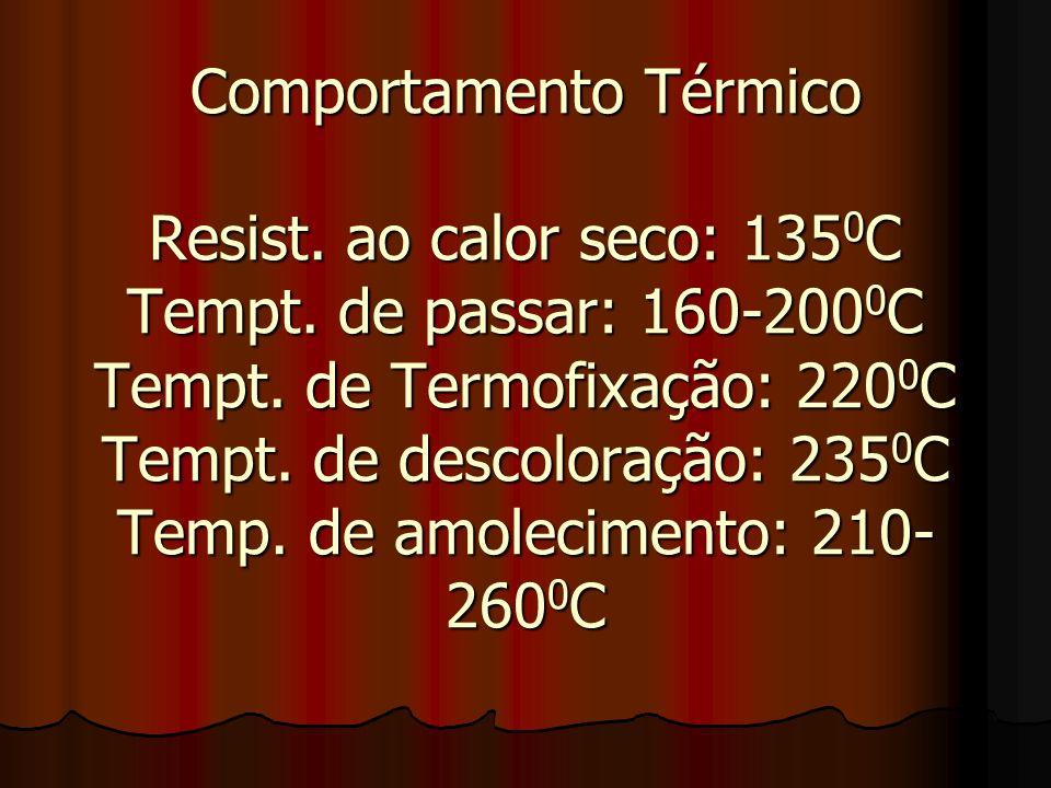 Comportamento Térmico Resist. ao calor seco: 1350C Tempt