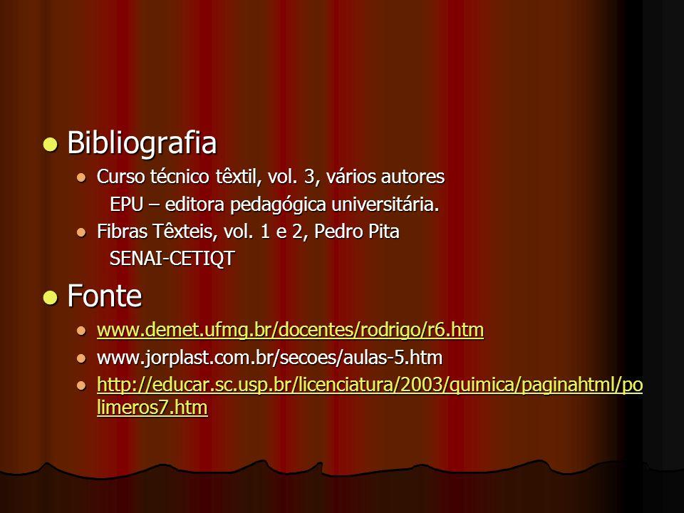Bibliografia Fonte Curso técnico têxtil, vol. 3, vários autores