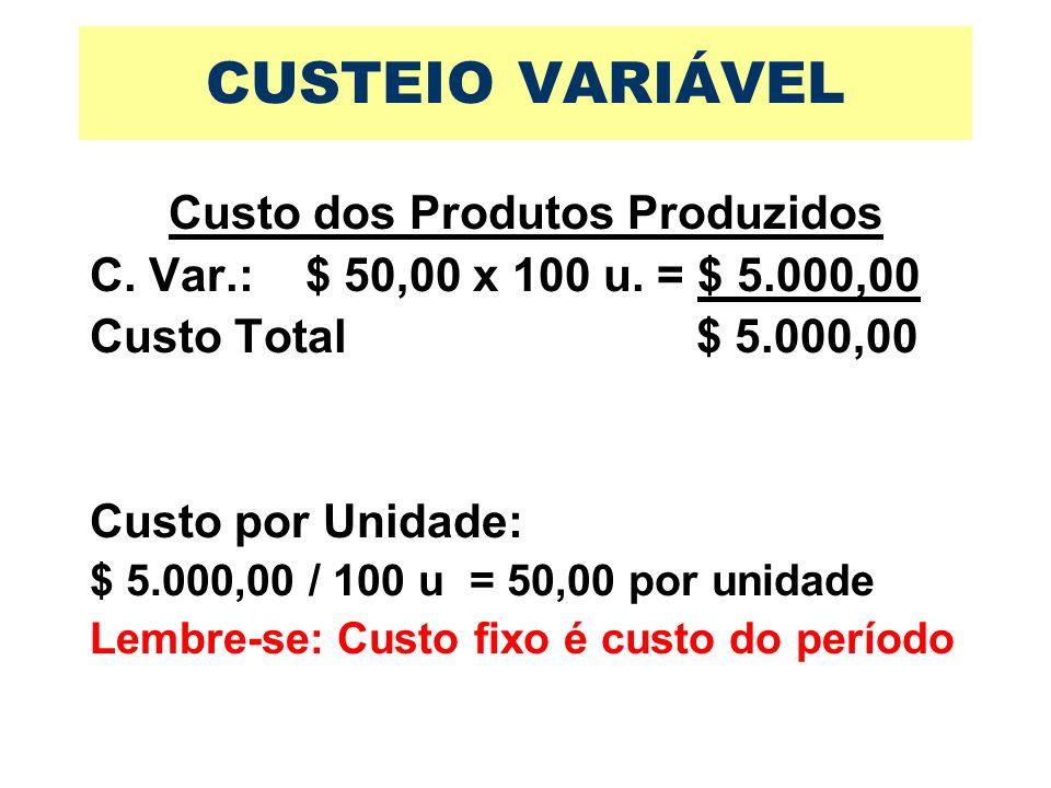 Custo dos Produtos Produzidos