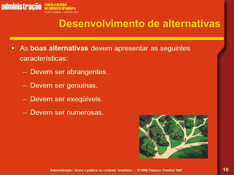 Desenvolvimento de alternativas
