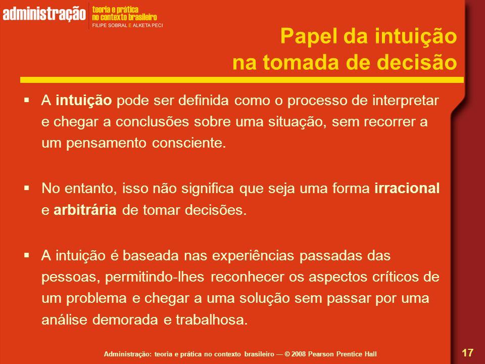 Papel da intuição na tomada de decisão