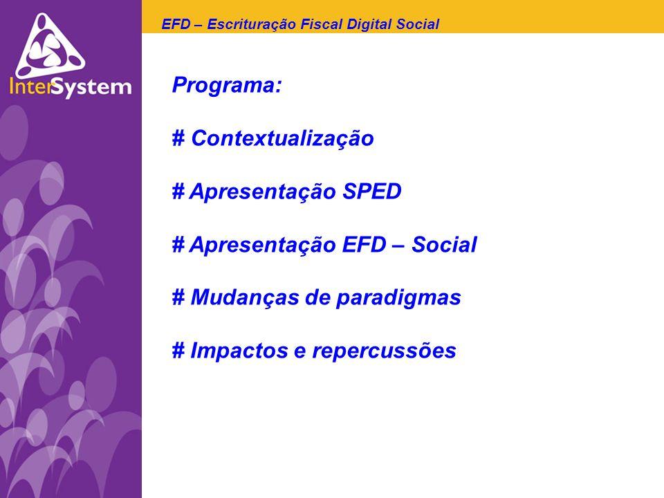 # Apresentação EFD – Social # Mudanças de paradigmas