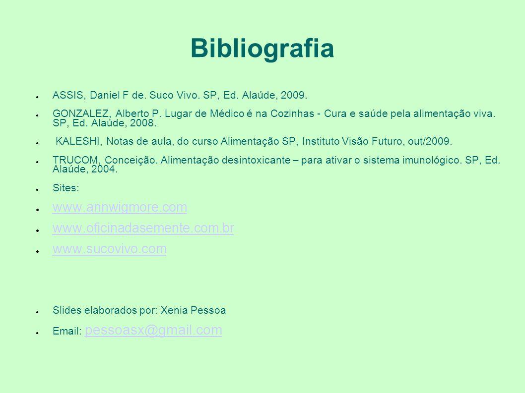 Bibliografia www.annwigmore.com www.oficinadasemente.com.br