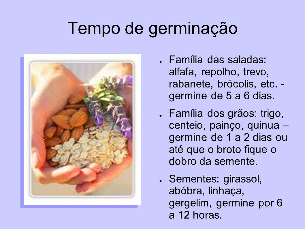 Tempo de germinaçãoFamília das saladas: alfafa, repolho, trevo, rabanete, brócolis, etc. - germine de 5 a 6 dias.