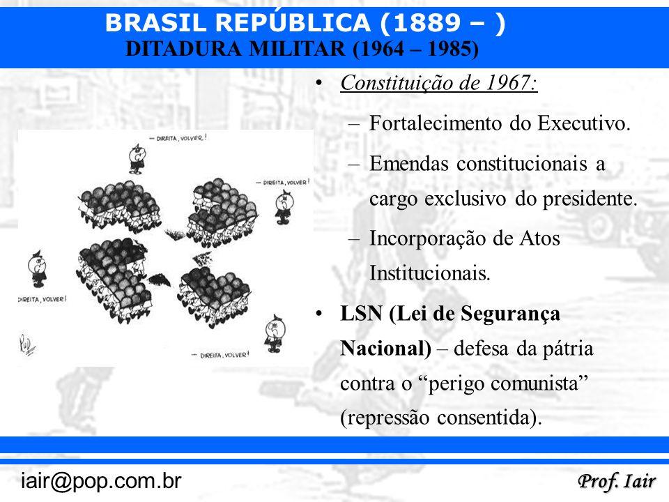 Constituição de 1967:Fortalecimento do Executivo. Emendas constitucionais a cargo exclusivo do presidente.