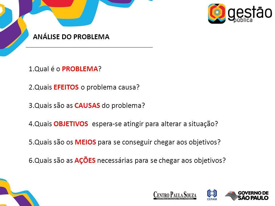 ANÁLISE DO PROBLEMA Qual é o PROBLEMA Quais EFEITOS o problema causa Quais são as CAUSAS do problema