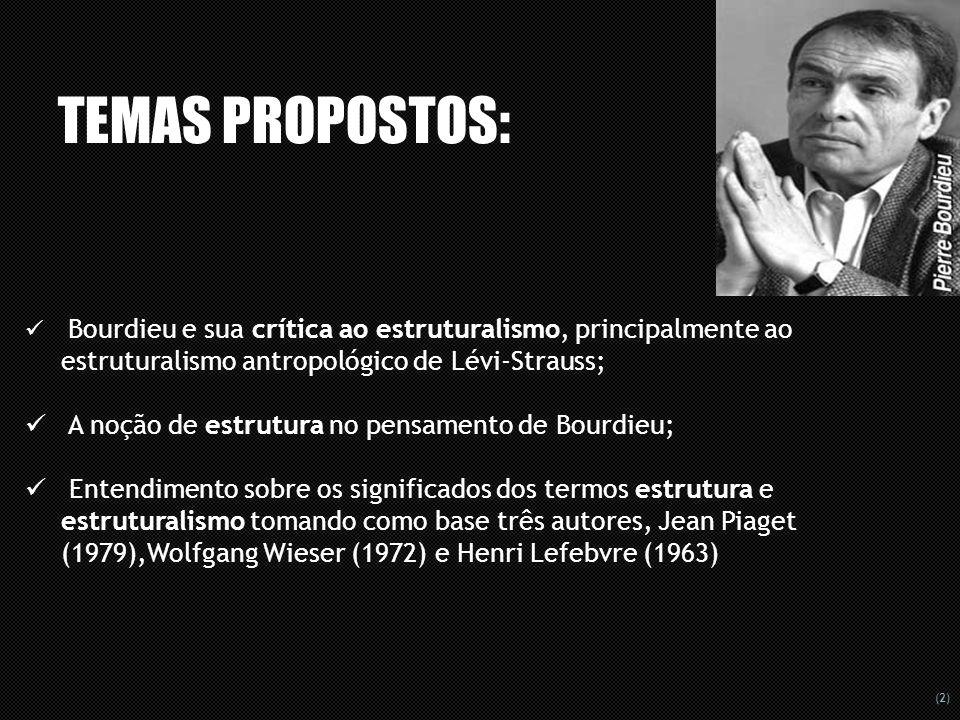 TEMAS PROPOSTOS: A noção de estrutura no pensamento de Bourdieu;