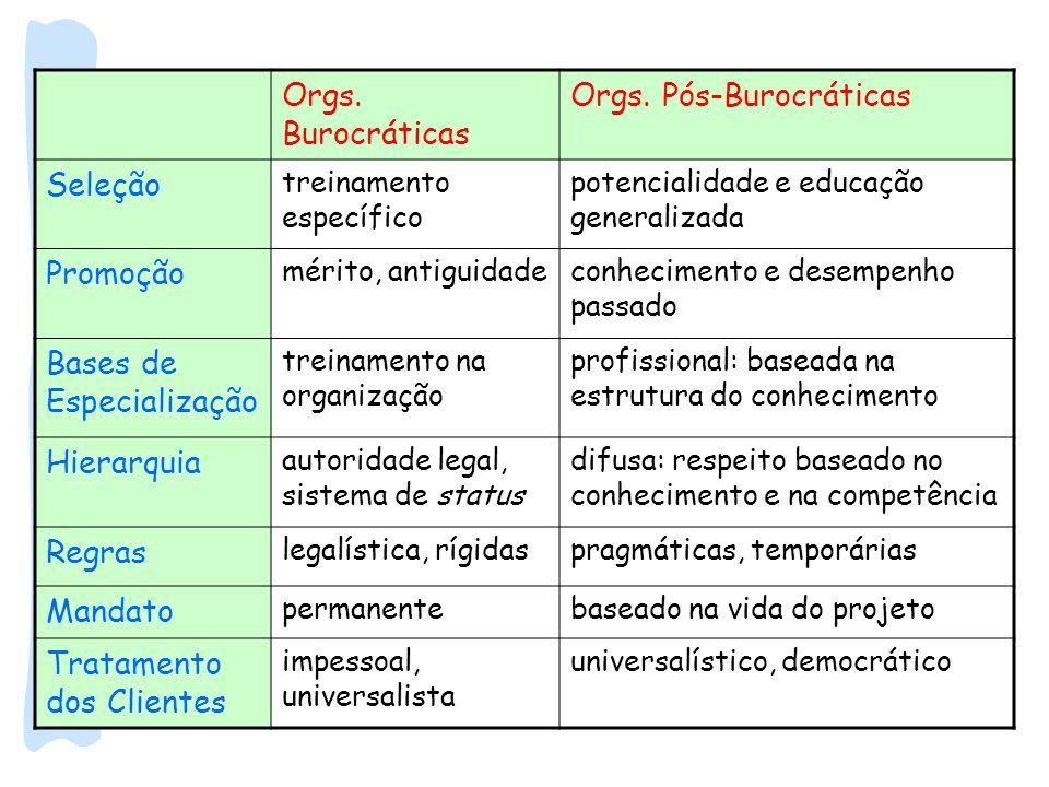 Orgs. Pós-Burocráticas Seleção Promoção Bases de Especialização