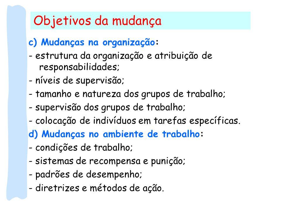 Objetivos da mudança c) Mudanças na organização: