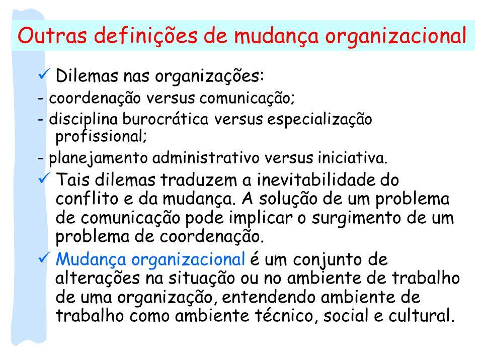 Outras definições de mudança organizacional