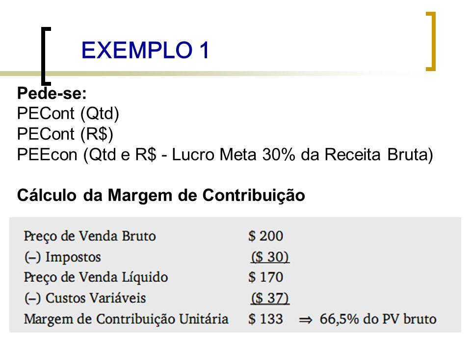 EXEMPLO 1 Pede-se: PECont (Qtd) PECont (R$)