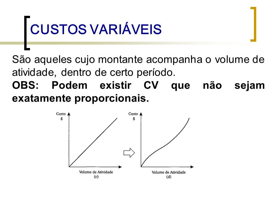 CUSTOS VARIÁVEISSão aqueles cujo montante acompanha o volume de atividade, dentro de certo período.