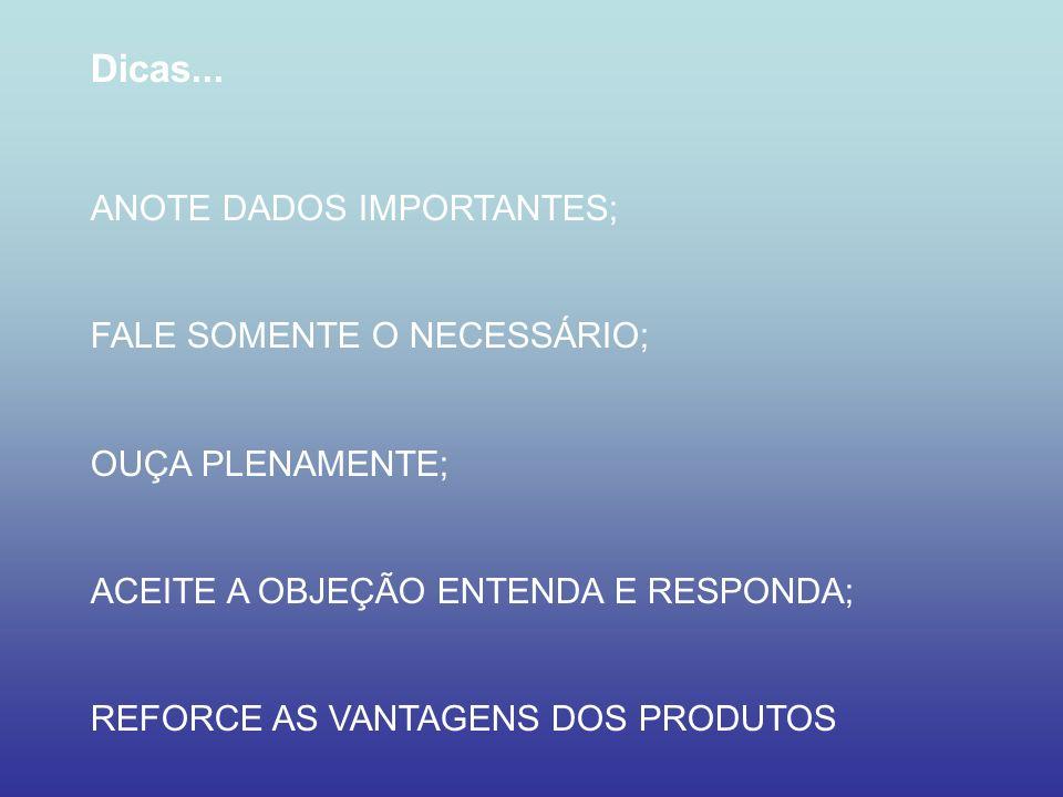 Dicas... ANOTE DADOS IMPORTANTES; FALE SOMENTE O NECESSÁRIO;
