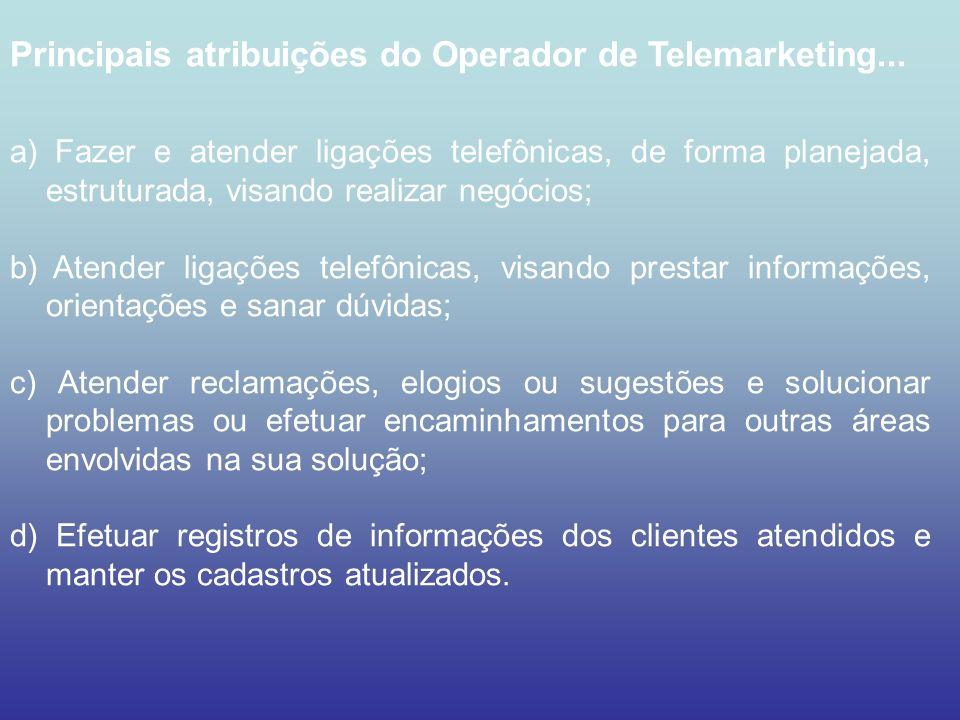 Principais atribuições do Operador de Telemarketing...
