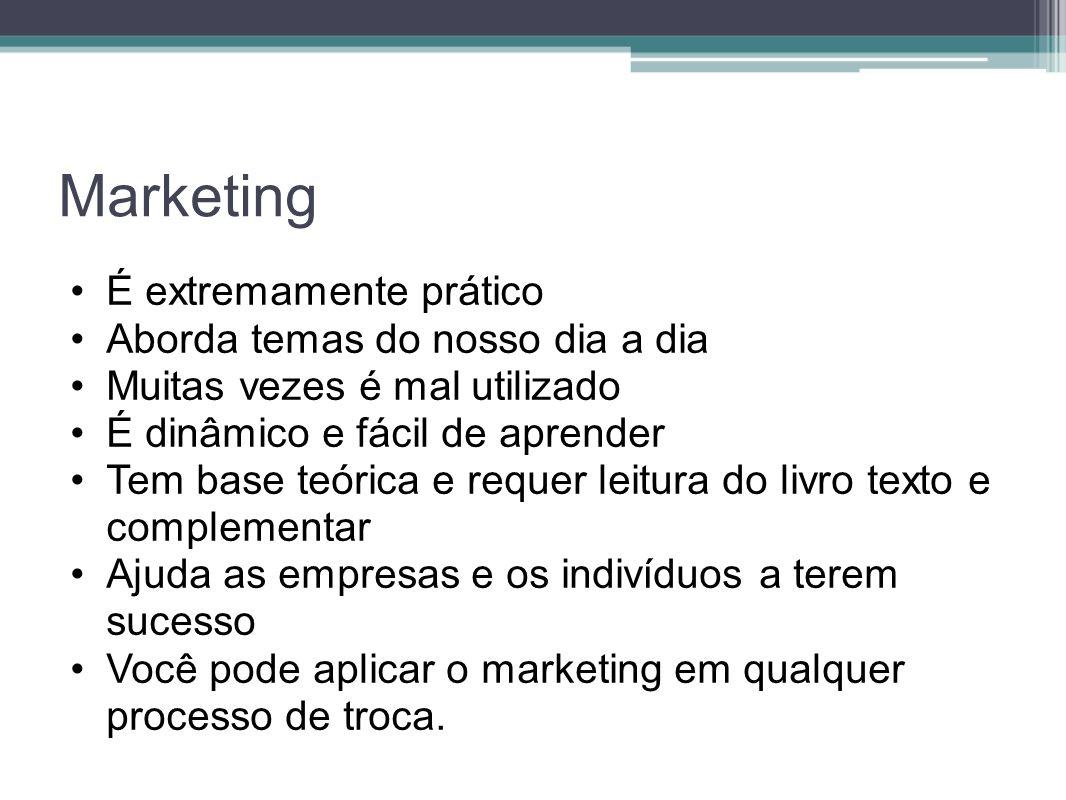 Marketing É extremamente prático Aborda temas do nosso dia a dia