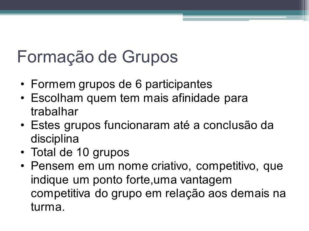 Formação de Grupos Formem grupos de 6 participantes