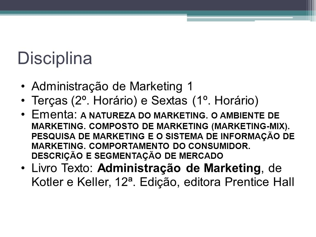 Disciplina Administração de Marketing 1