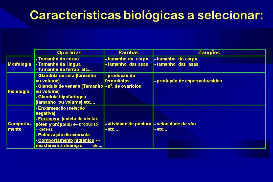 Características biológicas a selecionar: