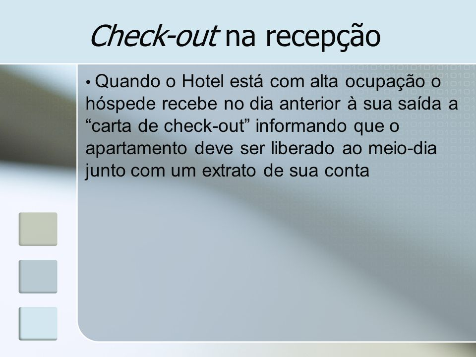 Check-out na recepção