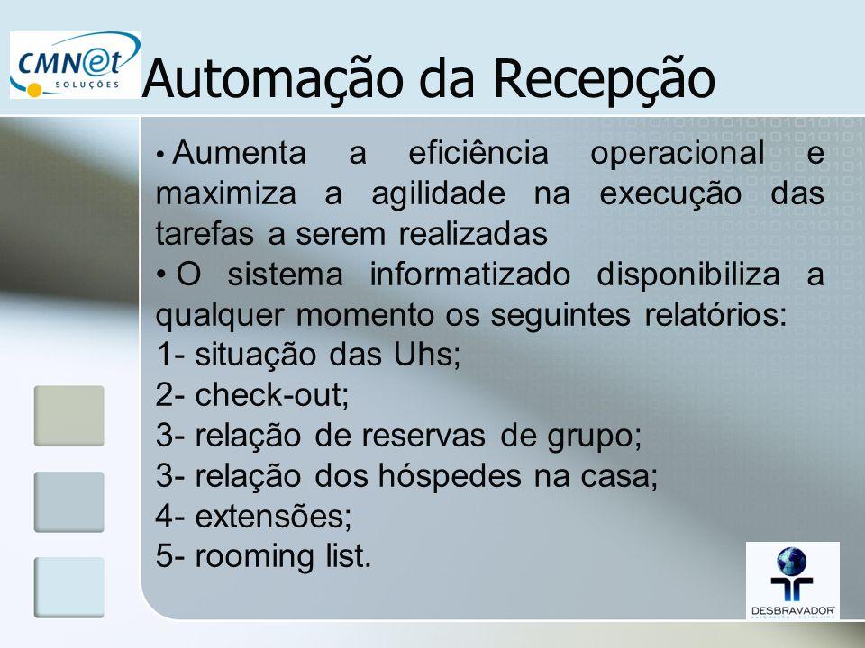 Automação da Recepção Aumenta a eficiência operacional e maximiza a agilidade na execução das tarefas a serem realizadas.