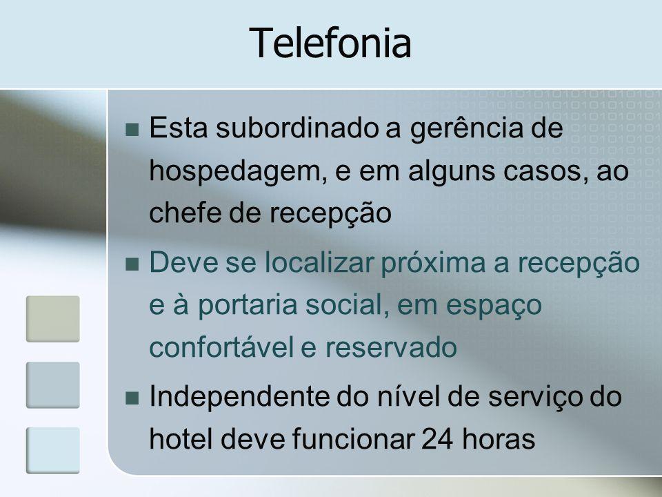 Telefonia Esta subordinado a gerência de hospedagem, e em alguns casos, ao chefe de recepção.