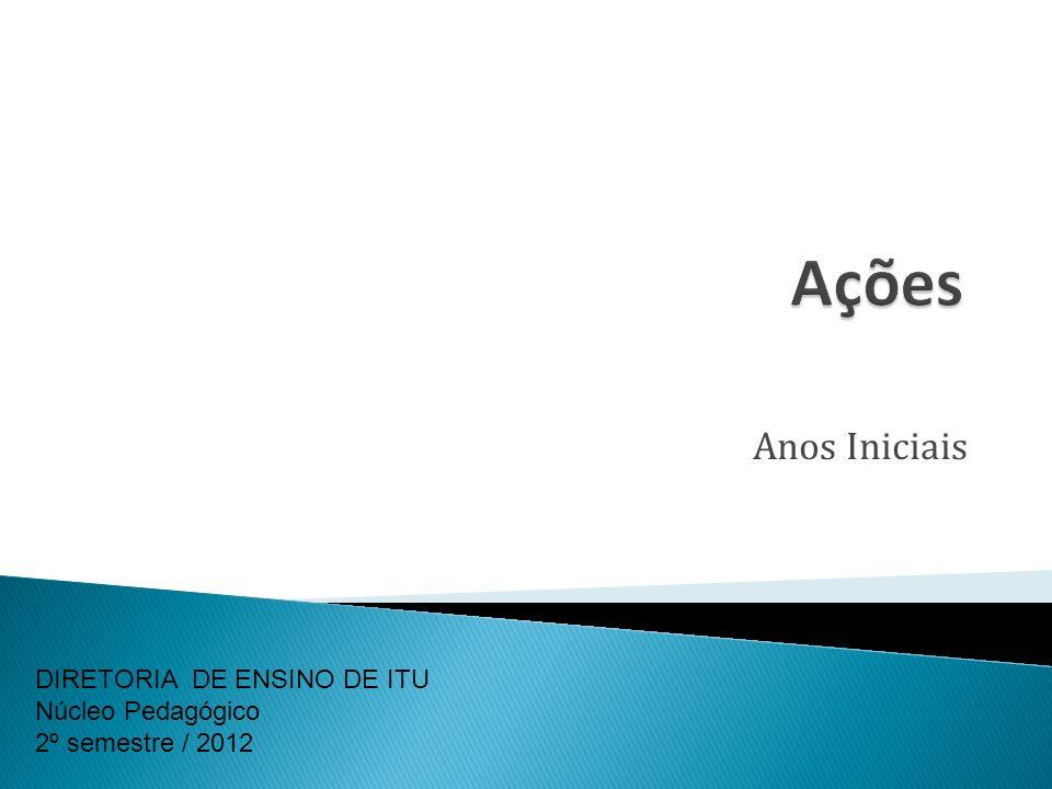 Ações Anos Iniciais DIRETORIA DE ENSINO DE ITU Núcleo Pedagógico