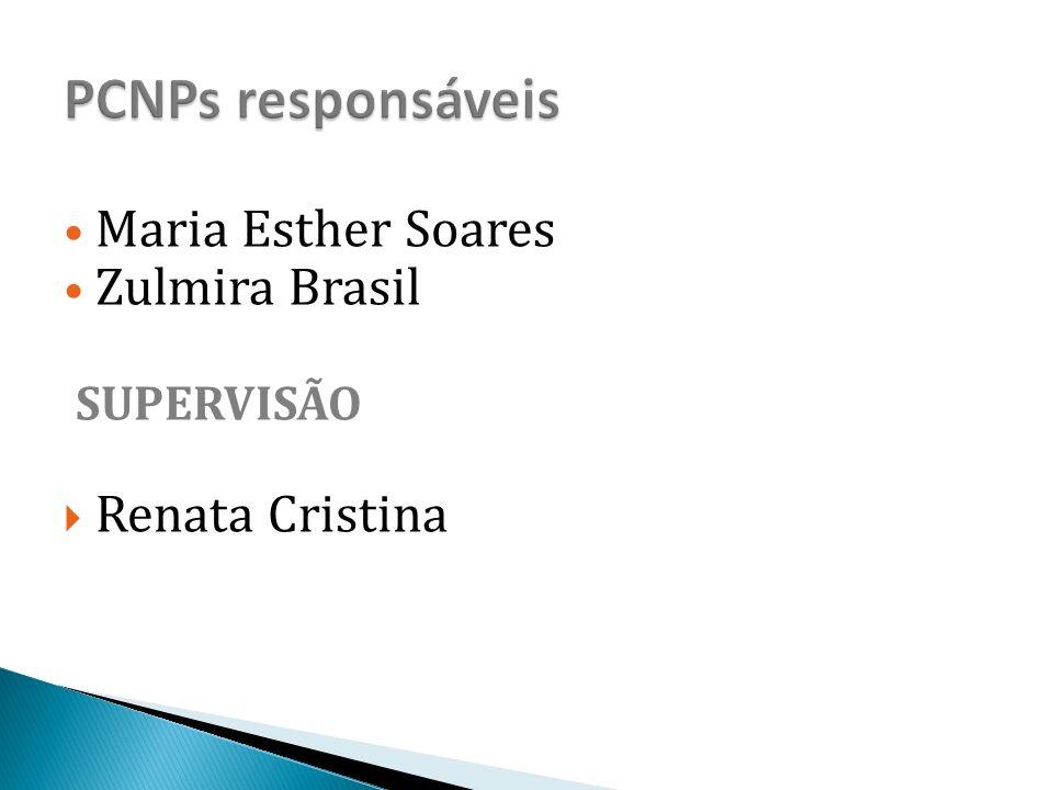 PCNPs responsáveis Maria Esther Soares Zulmira Brasil SUPERVISÃO