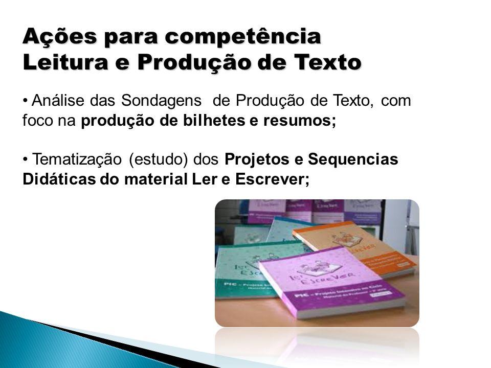 Ações para competência Leitura e Produção de Texto
