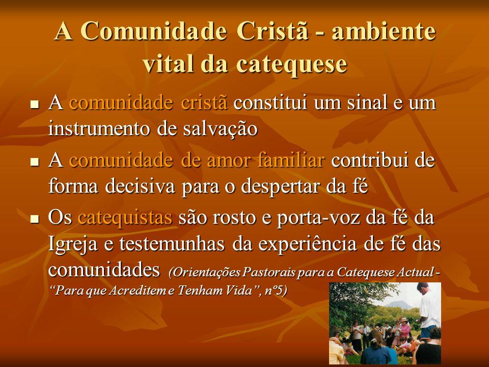 A Comunidade Cristã - ambiente vital da catequese