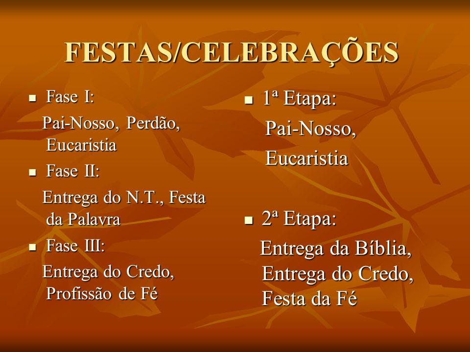 FESTAS/CELEBRAÇÕES 1ª Etapa: Pai-Nosso, Eucaristia 2ª Etapa: