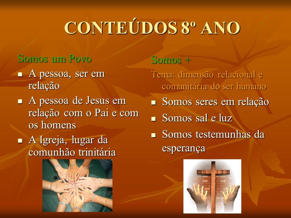 CONTEÚDOS 8º ANO Somos um Povo A pessoa, ser em relação