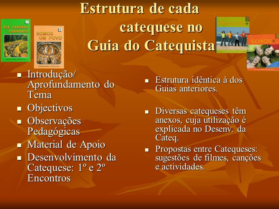 Estrutura de cada catequese no Guia do Catequista