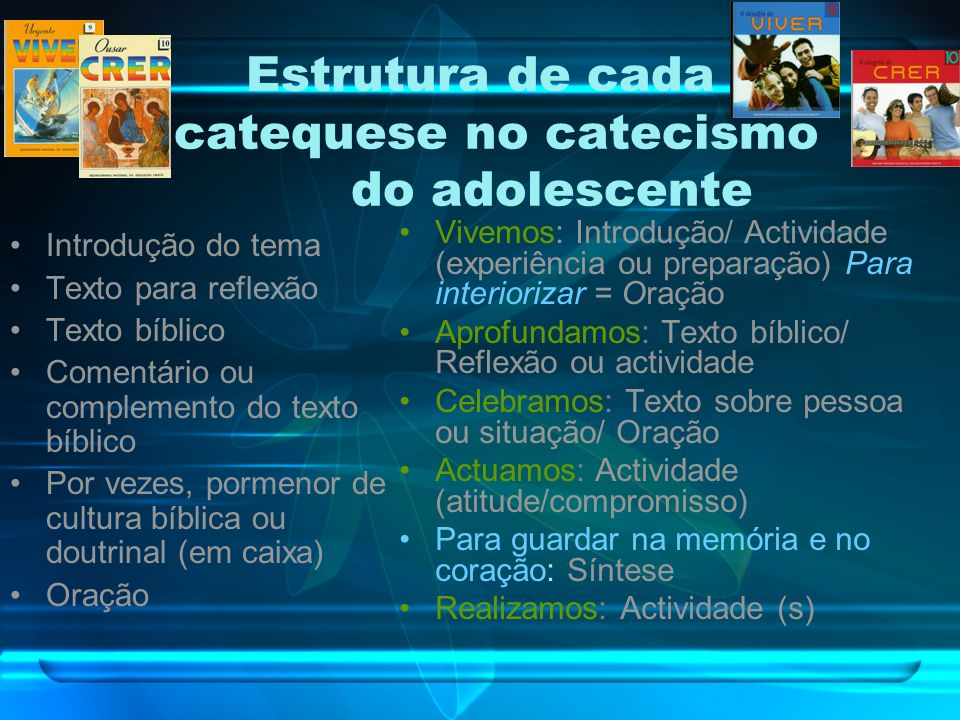 Estrutura de cada catequese no catecismo do adolescente